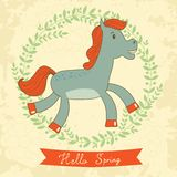 Hello spring concept card with cute running horse Royalty Free Stock Photography