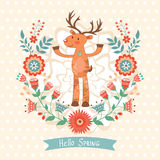 Hello spring concept card with deer Stock Images