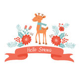 Hello spring concept card with deer Stock Photography