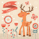 Hello spring concept card with deer Royalty Free Stock Images