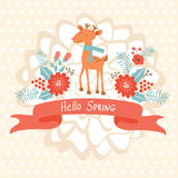 Hello spring concept card with deer Royalty Free Stock Photo