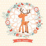 Hello spring concept card with deer Stock Image