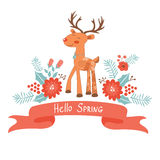 Hello spring concept card with deer Stock Photos