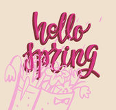 Hello spring cute card Stock Images