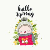 Hello spring cute character. Hello spring - handwritten lettering, a smiling cute child with dandelions flowers, and green leaves. Isolated vector cartoon stock illustration