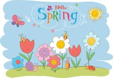 Hello Spring cute greeting card Stock Photography