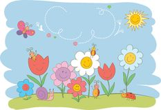 Hello Spring cute greeting card Stock Photo