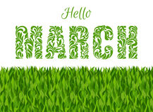 Hello, SPRING. Decorative Font made of swirls and floral element Stock Image
