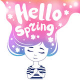 Hello spring, dreaming girl, colored Stock Image