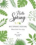 Hello Spring festive banner with Springtime season flower. Floral greeting card for Spring holiday themes design with daffodil, ro. Se and tulip, calla lily royalty free illustration