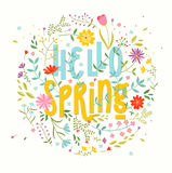 Hello Spring. Floral background. stock illustration