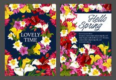 Hello Spring floral banner with blooming flower. Wreath. Springtime season holiday festive poster in frame of daffodil, tulip and calla lily, azalea, freesia Royalty Free Stock Images