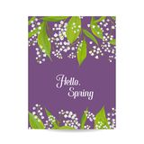 Hello Spring Floral Card for Holidays Decoration. Sprinttime Background. Wedding Invitation, Greeting Template. With Blooming Lily Valley Flowers. Vector Royalty Free Stock Photography