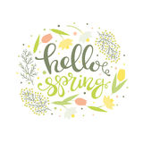 Hello spring - floral card vector Stock Images