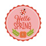 Hello spring floral decoration ladybug flower banner Royalty Free Stock Photography