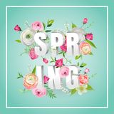 Hello Spring Floral Design with Blooming Flowers. Botanical Springtime Background for Decoration, Poster, Banner, Sale. Hello Spring Floral Design with Blooming Stock Photo