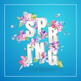 Hello Spring Floral Design with Blooming Flowers. Botanical Springtime Background for Decoration, Poster, Banner, Sale. Hello Spring Floral Design with Blooming Royalty Free Stock Photos