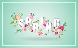 Hello Spring Floral Design with Blooming Flowers. Botanical Springtime Background for Decoration, Poster, Banner, Sale. Hello Spring Floral Design with Blooming Stock Image