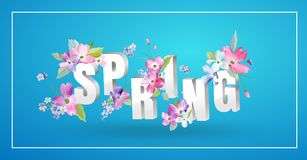 Hello Spring Floral Design with Blooming Flowers Stock Images