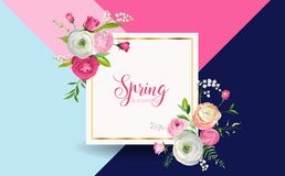 Hello Spring Floral Design with Blooming Pink Flowers. Botanical Springtime Background for Decoration, Poster. Banner, Voucher, Sale. Vector illustration Stock Photo