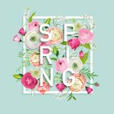 Hello Spring Floral Design with Blooming Pink Flowers. Botanical Springtime Background for Decoration, Poster. Banner. Vector illustration Stock Photography