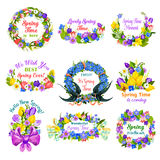 Hello spring floral frame and border icon set. Spring flower wreath of tulip, narcissus, lily, snowdrop and crocus with green leaf, ribbon, bow, butterfly and royalty free illustration