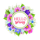 Hello spring floral frame greeting card design. Hello spring floral frame greeting card. Spring flower wreath of lily of the valley, narcissus, crocus, primrose Royalty Free Stock Images