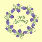 Hello Spring floral frame for text, isolated on white background. Spring template for your design, cards, invitations, posters. Ve Stock Images