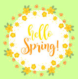 Hello Spring floral frame for text, isolated on white background. Spring template for your design, cards, invitations Royalty Free Stock Images