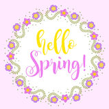 Hello Spring floral frame for text, isolated on white background. Spring template for your design, cards, invitations Stock Image