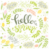 Hello Spring - floral greeting card with lettering vector royalty free illustration