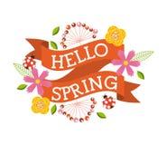 Hello spring floral ladybug flower decoration banner Royalty Free Stock Images