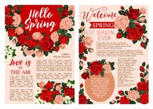 Hello Spring floral poster with rose flower frame. Hello Spring floral poster with rose flower for Springtime season celebration. Floral frame of pink and red Stock Photo