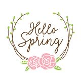 Hello Spring Floral Wreath Vector royalty free illustration