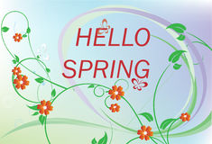 Hello spring with flower Royalty Free Stock Images