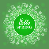 Hello Spring. Flower frame. Concept design for a seasonal sale, greeting cards, stickers, invitations. Stock Photo