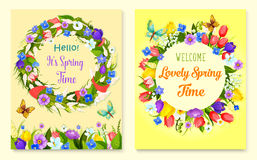 Hello spring flower frame for greeting card design. Hello spring flower frame and floral wreath cards. Springtime holiday flower wreath of tulip, narcissus Royalty Free Stock Photos