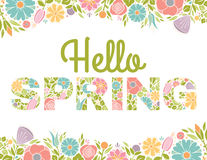 Hello Spring Flowers Text Background. Spring Letters with floral background Royalty Free Stock Photos