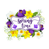 Hello Spring flowers vector floral poster Royalty Free Stock Images