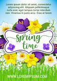 Hello Spring flowers vector floral poster Stock Photos