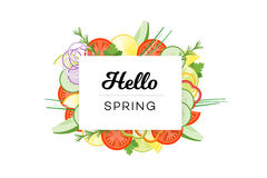 Hello Spring. Food Banner With Vegetables Isolated On White Background Stock Images