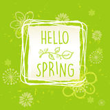 Hello spring in frame with flowers over green old paper backgrou Stock Image