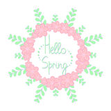 Hello spring frame with flowers. Hello spring sign with flowers frame Royalty Free Stock Photos
