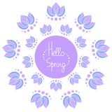 Hello spring frame with lotuses. Hello spring sign with lotuses circular frame Royalty Free Stock Image