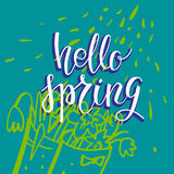 Hello spring green card Royalty Free Stock Images