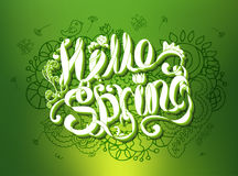 Hello Spring green design with hand drawn text and ornament Royalty Free Stock Photos