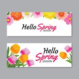 Hello spring greeting card banner template with colorful flower. Can be use voucher, wallpaper,flyers, invitation, posters, brochure, coupon discount Royalty Free Stock Photos