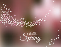 Hello Spring greeting card on blurred pink background. Vector Stock Photo