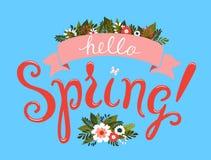 Hello Spring greeting card design. Stock Photos