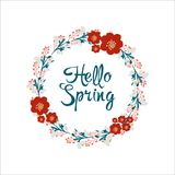 Hello spring greeting card. Flower wreath and lettering. Hello spring greeting card. Illustration with flower wreath and lettering Royalty Free Stock Photography
